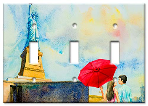 Of Faceplate Liberty Statue - Art Plates 3-Gang Toggle OVERSIZE Switch Plate/OVER SIZE Wall Plate - Statue of Liberty Painting