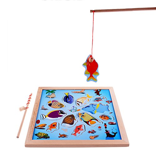 rolimate 11-Piece Fishes Basic Educational Development Wooden Magnetic Bath Fishing Travel Table Activity Game, Birthday Gift Toys for age 3 4 5 Year Old Kid Children Baby Toddler Boy Girl Magnet Toy