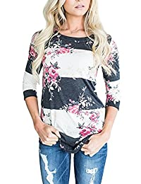 Assivia Women Floral Print 3 4 Sleeve T-Shirts Casual Striped Blouse Tops