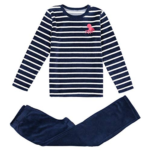 La Redoute Collections Velour Striped Octopus Print Pyjamas, 3-12 Years Other Size 8 Years (126 cm) from La Redoute