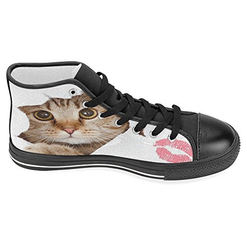 Fashion Sneakers Women InterestPrint amp; Flat Lace Up Kiss Shoes Top Canvas Form Trainers Shoes Cat Black High BPWcrUpqB