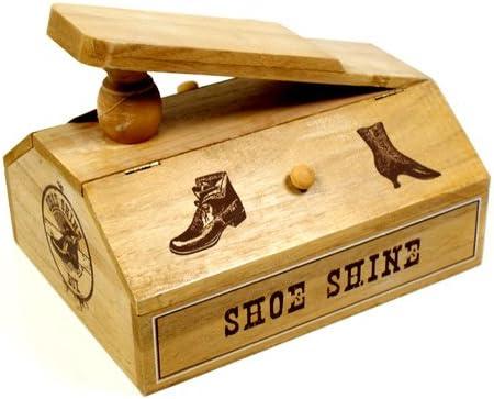 Caja limpieza zapatos zapato de madera caja de almacenamiento Stuff interbloqueo acabado antiguo: Amazon.es: Hogar