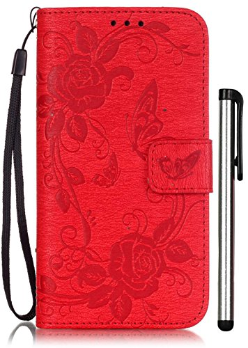 Samsung Galaxy S5 Flip Case Floral Red Leather Wallet Full Body Magnet Book Cover CellPhone Accessories with Stand Credit Card Holders Cash Slot Wrist Strap Handmade Embossed Fashion Butterfly Flower -