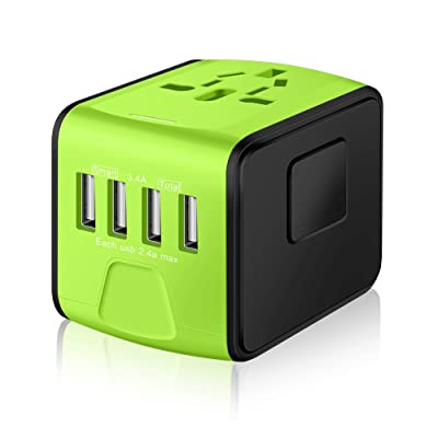 SAUNORCH Universal International Travel Power Adapter W/Smart High Speed 2.4A 4xUSB, European Plug Adapter, Worldwide AC Outlet Plugs Adapters for Europe, UK, USA, AU, Asia-Green: Electronics