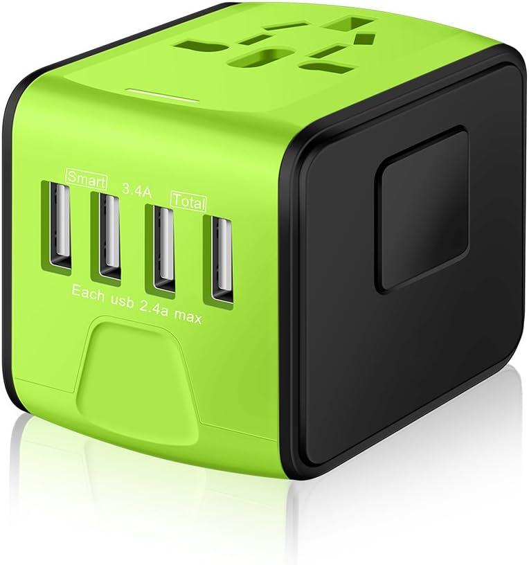 SAUNORCH Universal International Travel Power Adapter W/Smart High Speed 2.4A 4xUSB, European Plug Adapter, Worldwide AC Outlet Plugs Adapters for Europe, UK, USA, AU, Asia-Green