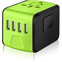 SAUNORCH Universal Travel Adapter,International Travel Power Adapter W/High Speed 4X 2.4A USB Wall Charger, European Adapter, Worldwide AC Outlet Plugs Adapters for Europe, UK, US, AU, Asia-Green
