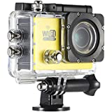 Walmeck Digital Action Sports Camera 4K WiFi Waterproof Cam with 12MP 1080P 30FPS 140 Degree Wide Lens for Car DVR PC Camera Diving Bicycle Outdoor Activity