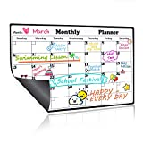 Magnetic Dry Erase Calendar for Refrigerator,2018-2019 Monthly Planner Kitchen Magnets Large Whiteboard Organizing Calendar Family to Do List Section,16.9in X 11.8in