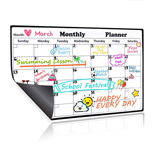 Magnetic Dry Erase Calendar for Refrigerator,2018-2019 Monthly Planner Kitchen Magnets Large Whiteboard Organizing Calendar Family to Do List Section,16.9in X 11.8in by Homein