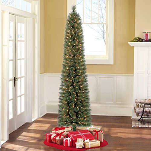 pre lit 7ft clear lights shelton artificial christmas tree by holiday time - 7ft Artificial Christmas Tree