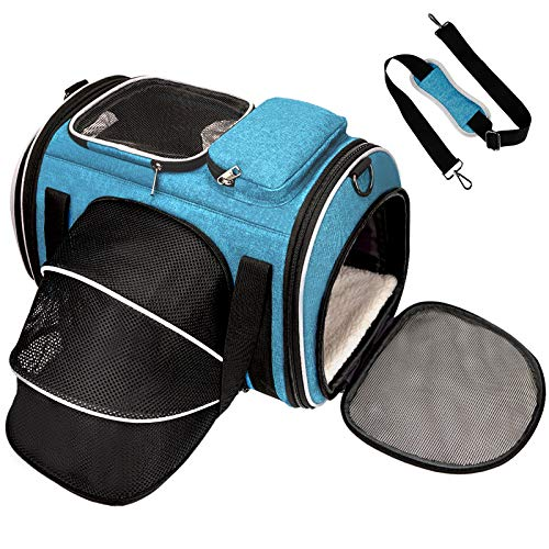 PENCCOR Pet Carrier, Cat Carrier bag for Cat, Small Dogs, Dog Carrier Airline Approved for Travel with 4 Open Doors, 5…