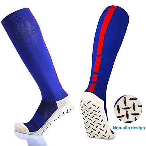 antidérapant Chaussettes de sport, d'entraînement professionnel longues Chaussettes, Chaussettes de compression haute élastique respirant Chaussettes de football, football, hockey, rugby