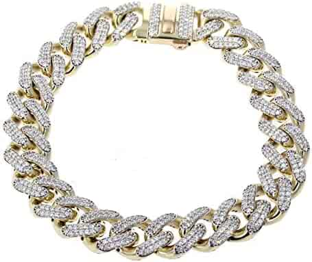 Midwest Jewellery 10K Gold Mens Bracelet Miami Link Iced Out with Cubic Zirconia 13mm Wide Box Clasp Mens Gold Bracelet 9 INCH