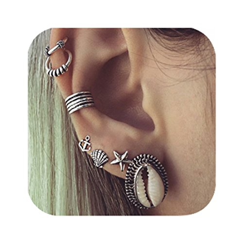 Carved Shell Earrings (Cyntan Set Of Stud Earrings Shell Anchor Carved Ear Cuff Earrings Jewelry For Women Silver Tone 7 Pcs/Set)