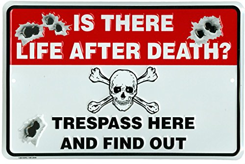 Is There Life After Death? Trespass Here And Find Out - Novelty Metal No Trespassing Sign - Novelty Metal Signs