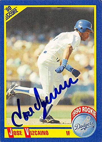 1990 Score Mlb Rookie Card - Jose Vizcaino autographed baseball card (Los Angeles Dodgers) 1990 Score #613 Rookie - MLB Autographed Baseball Cards