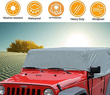 Over Installed Top 100/% UV Protection Breathable SUV Car Cover Fit 2007-2018 Models 1-Year Warranty iiSPORT Water-Resistant Jeep Wrangler JK Unlimited 2 Door Cab Cover