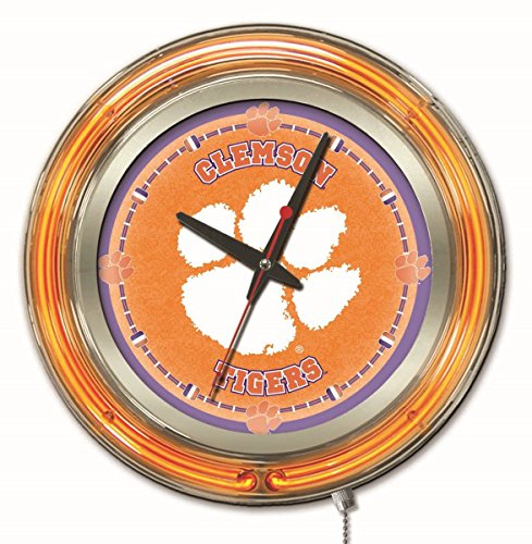 Clemson Tigers HBS Neon Orange College Battery Powered Wall Clock (15