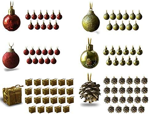 Bulk Christmas Ornaments.Banberry Designs Mini Christmas Ornaments Assorted Set Of 96 Ornaments Red And Gold Mini Ball Ornaments Pinecones And Presents Each Ornament