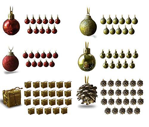 BANBERRY DESIGNS Mini Christmas Ornaments - Assorted Set of 96 Ornaments - Red and Gold Mini Ball Ornaments - Pinecones and Presents - Each Ornament is Approximately One Inch