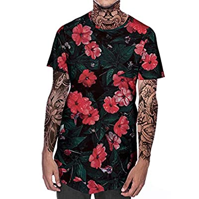 TOPUNDER Men's New Summer T-Shirt with Round Neck Short Sleeve Flower 3D Printed Top