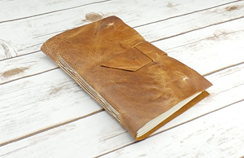 (Distressed Leather Journal, Personalized Large Rustic Travel Journal, Monogram Diary)
