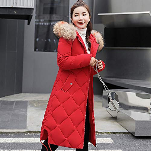 Outwear grosso Cappotto Piumino Cotone Rosso Imbottito Invernale Homebaby Parka E Lungo Sciolto Elegante Autunno Giacca Cappuccio Puffer Calda Donna qfgZxwx80