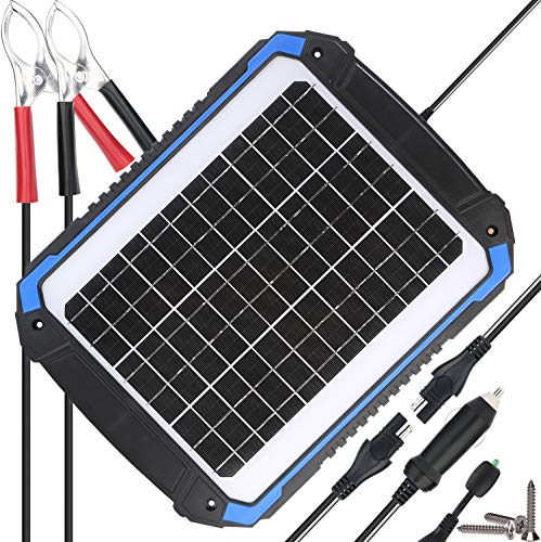 SUNER POWER 12V Solar Car Battery Charger & Maintainer - Portable 14W Solar Panel Trickle Charging Kit for Automotive, Motorcycle, Boat, Marine, RV, Trailer, Powersports, Snowmobile, etc. (Best Batteries For Solar Power)