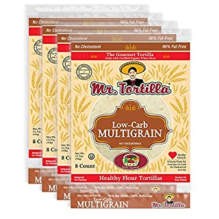 Mr. Tortilla Low-Carb Multigrain Tortillas - Fresh Delicious Soft Taco Shells - Healthy Keto-Friendly Food Wraps - Organic Wheat Flour - Great for Pizza Crust, Quesadilla, Burrito - 8-Count, 4-Pack