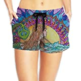 PPANFKEI Hippie Hip Hop Drawstring Womens Boardshorts Swim Trunks Tropical Soccer Board Shorts Bathing Swim Trunks