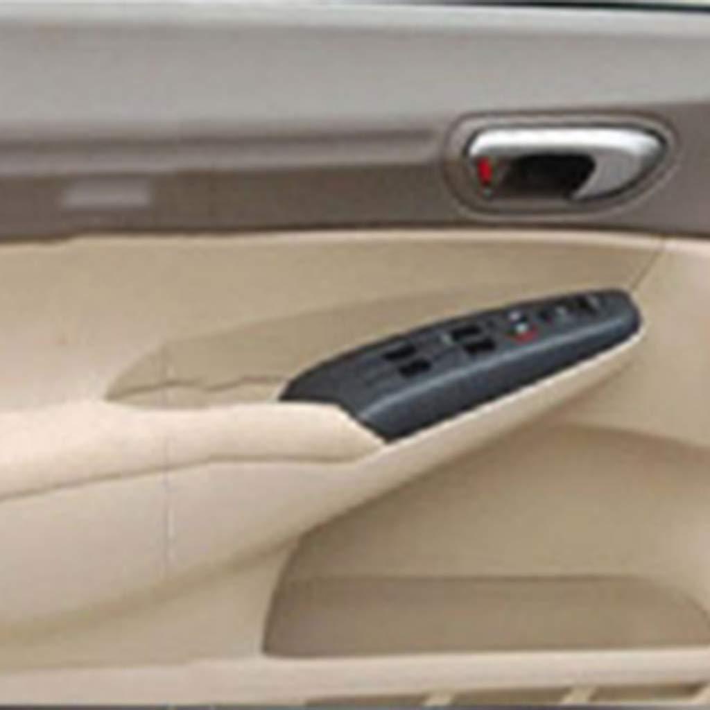 Flameer 4 pc Left Drivers Side Door Panel Front Armrest Trim Cover for Honda Civic