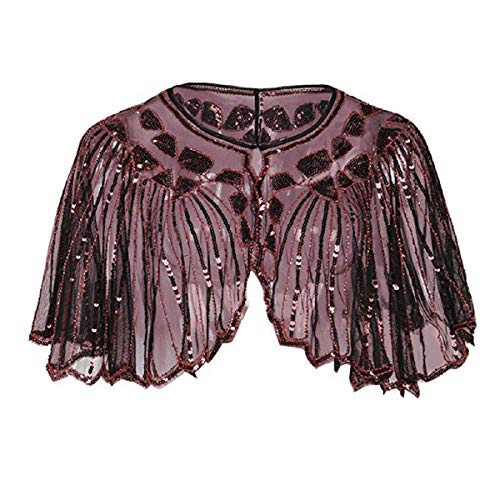 Wintialy Women's 1920s Shawl Beaded Sequin Deco Evening Cape Bolero Flapper Cover up Wine Red -