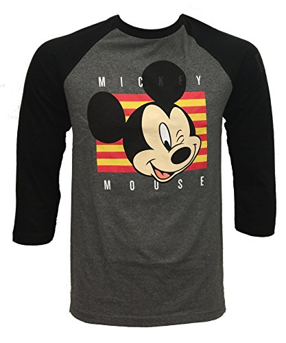 neff Men's Disney X Wink Mickey Mouse Raglan 3/4 Sleeve T-Shirt, Black/Athletic Heather, (Male Disney Character Names)