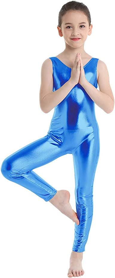 UK Girls Metallic Shiny Gymnastics Leotards Ballet Dance Top Bodysuit Dancewear