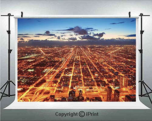City Photography Backdrops Chicago Downtown Skyline Aerial Panorama View at Dusk with Skyscrapers,Birthday Party Background Customized Microfiber Photo Studio Props,10x6.5ft,Orange Dark Orange -