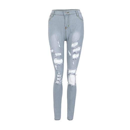 a1074359260d1d Women's Pencil Stretch Skinny Jeans High Waist Slim Distressed Ripped  Boyfriend Pencil Pants (S,
