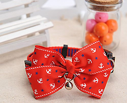 Blingy's® Medium Sized Stylish Bowknot Collar/Bow-Tie with Bell for Cats or Small Dogs(Packed in Blingy's® Gift Bag) (Red Naval)
