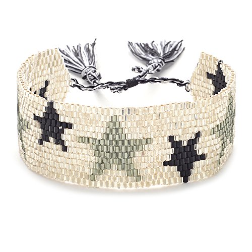 Delica Beaded Jewelry (Ginger Snap Bohemia Sead Beaded Bracelets Handmade Woven New Women Jewelry Cuff Friendship Gift (28MM-C))