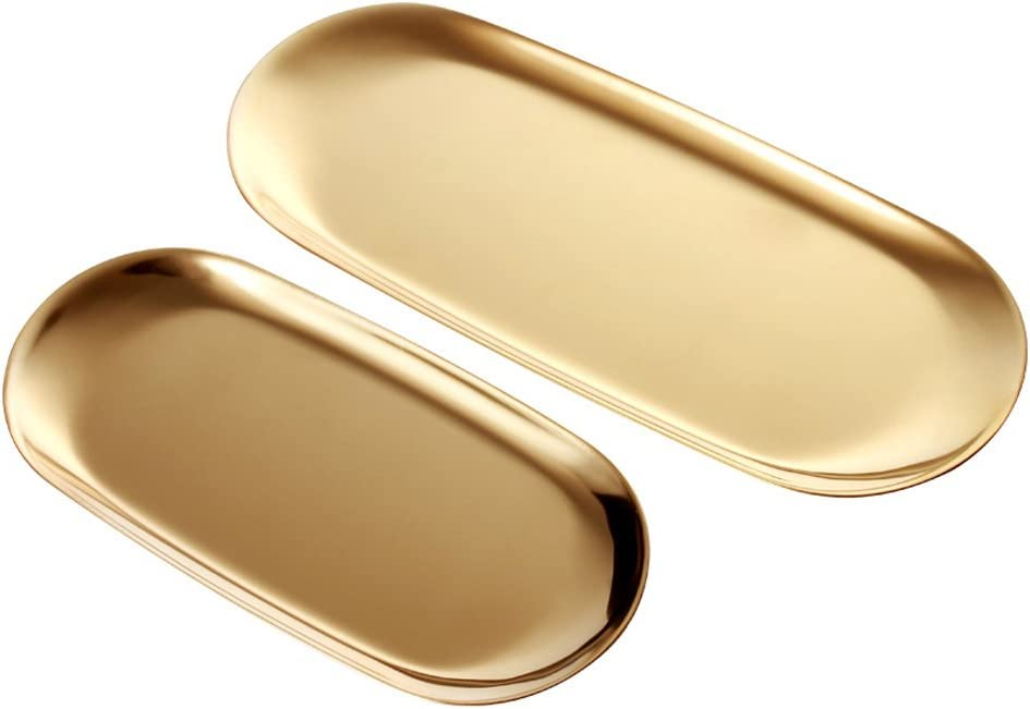 ANZOME 2 Sets Gold Oval Stainless Steel Trinket Tray,Towel Storage Dish Plate Tea Fruit Trays Cosmetics Jewelry Plate – 2 Size …