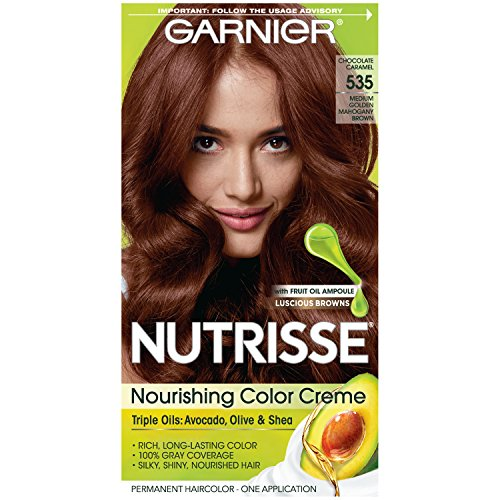 Garnier Nutrisse Nourishing Hair Color Creme 535 Medium Gold Mahogany Brown  Packaging May Vary