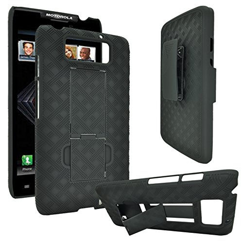 Motorola Droid Ultra XT1080M, Rubberized Hard Shell Case w/ Holster for Motorola Droid Maxx XT1080M (F Black)