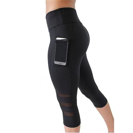 Ytdzsw Pantalones De Yoga para Mujer Polainas con Bolsillos Mallas De Running Negras Calcetines De Malla