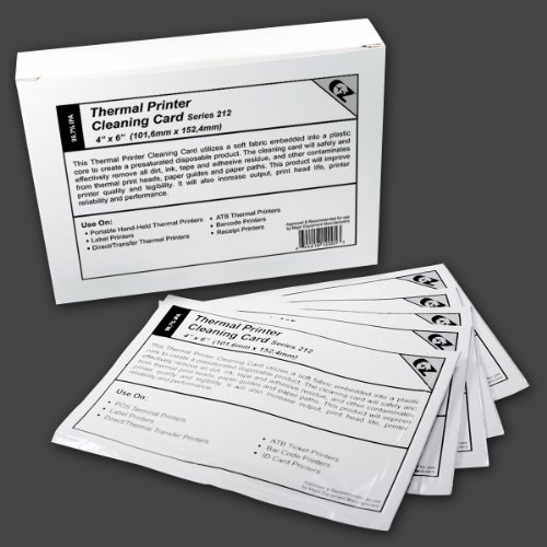 Thermal Printer Cleaning Card 4x6 - 101.6mm x 152.4mm Series 212 (3 Layer) ...