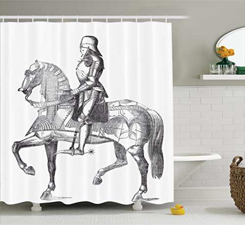 Ambesonne Medieval Decor Collection, Retro Vintage Stylized Illustration of Middle Age Renaissance Knight on the Horse , Polyester Fabric Bathroom Shower Curtain Set with Hooks, Black White