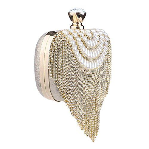 Shoulder Bag Beading Evening Gold Chain Clutch Women Wedding Handbags Tassel Lady Diamonds Party TOOGOO Silver Purse Small qF68wUt