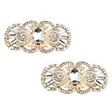 ElegantPark BG 2 Pcs Shoe Clips Antique Mask Design Rhinestones Wedding Party Decoration Gold