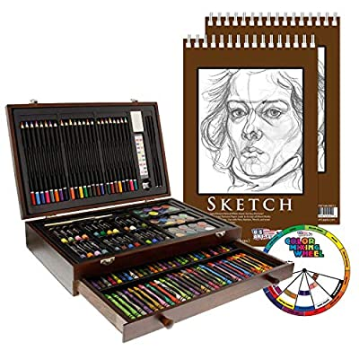 "U.S. Art Supply 143 Piece-Mega Wood Box Art, Painting & Drawing Set with Color Mixing Wheel and Bonus 2-9""x12"" Drawing Sketching Paper Pads"