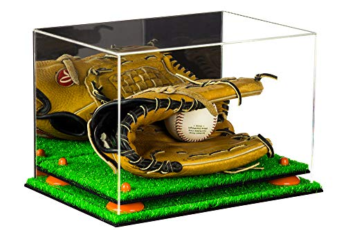 Baseball Base Display Case - Deluxe Acrylic Baseball Glove Display Case with Mirror, Orange Risers and Turf Base (A004-OR)