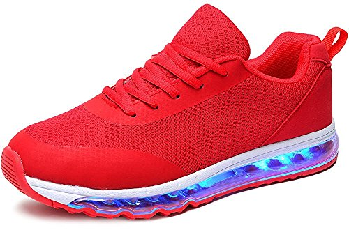 Men's & Women's Mesh LED Shoes Luminous Flashing Sneakers Light Up Breathable Sport Shoes (Red 42)