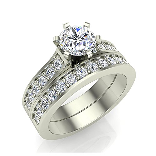 Round Brilliant Cathedral Accented Diamond Wedding Ring Set 1.10 carat total weight 14K White Gold (Ring Size 7)